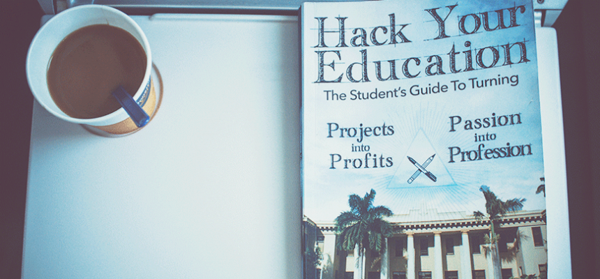 Hack your education book and coffee
