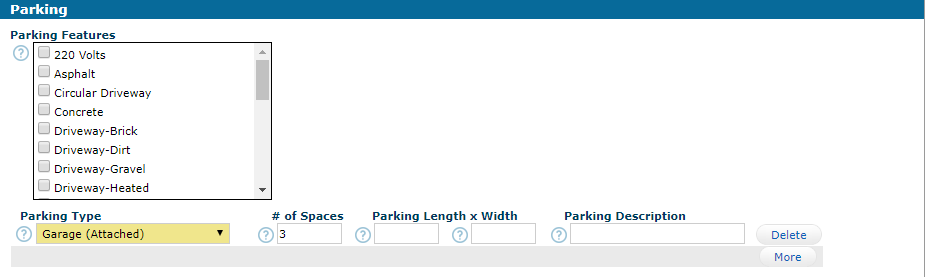 Parking Totals Type Spaces