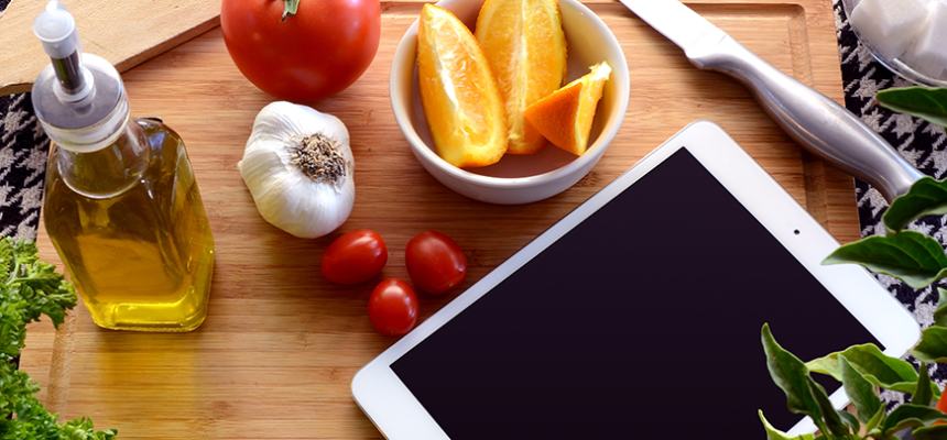 food veggies counter iPad cooking