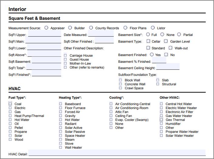 REcolorado Listing Input Form Interior Features