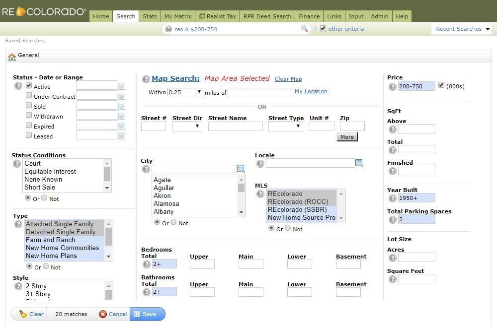 REcolorado Matrix Saved Search Criteria Screenshot