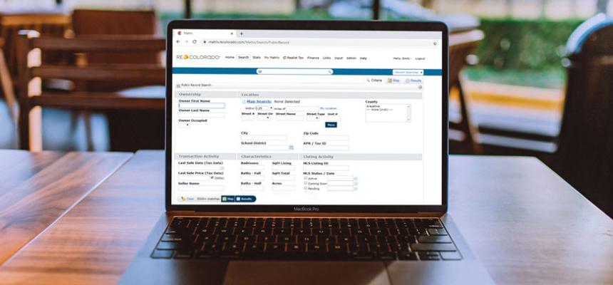 laptop public records search in REcolorado matrix