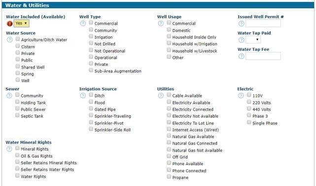 water & Utilities tab REcolorado Matrix Listing Input