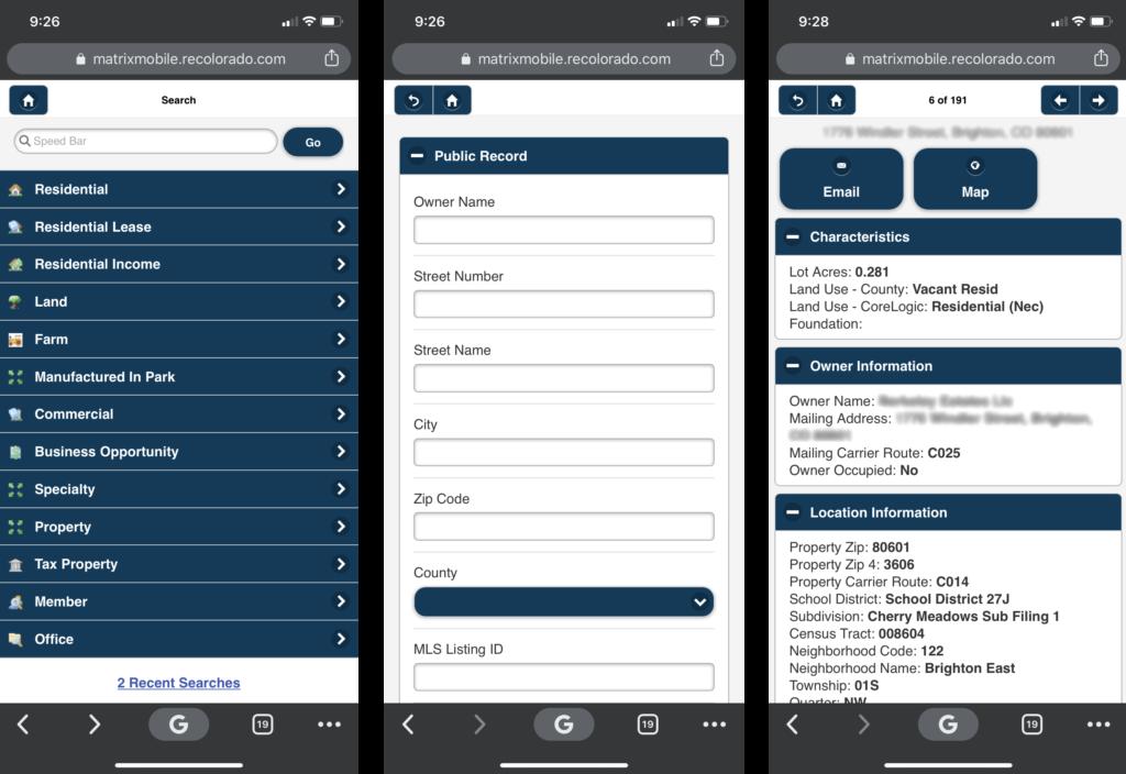 Matrix mobile public records