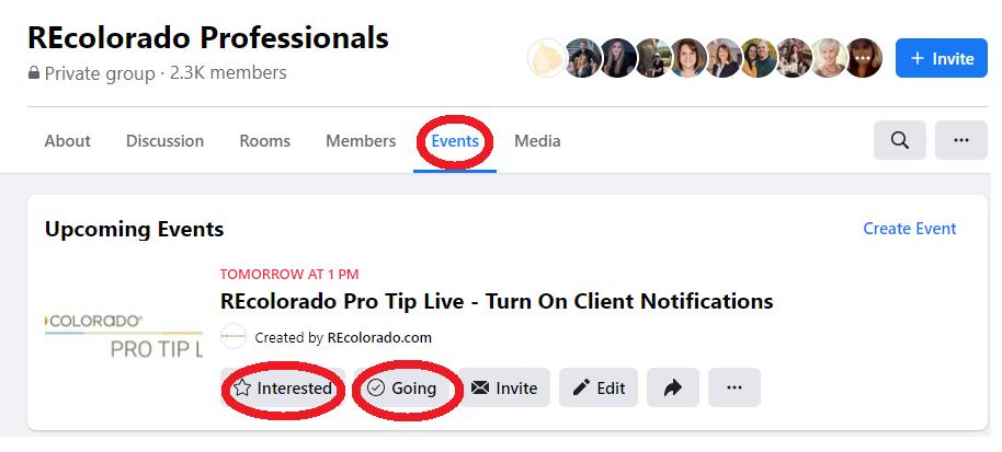 REcolorado Professionals Facebook Group Event