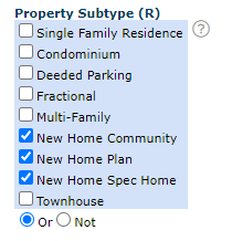 Property Subtype New Home Search Criteria