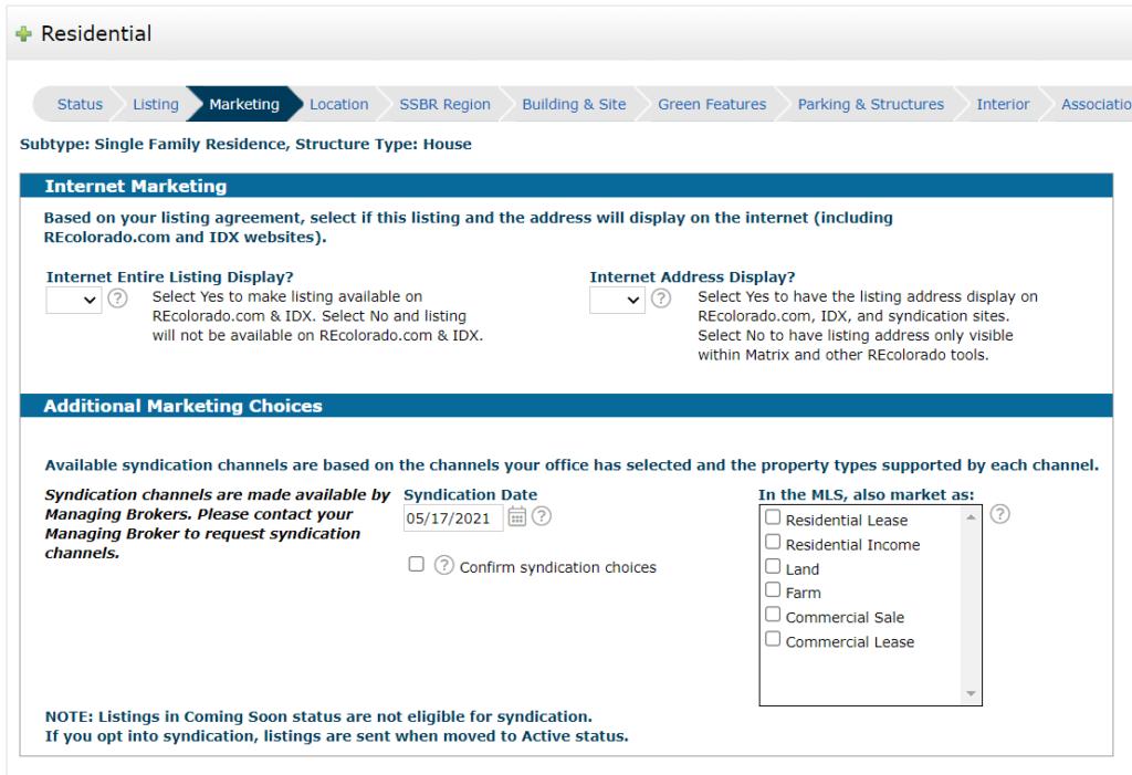 REcolorado matrix listing input marketing privacy options
