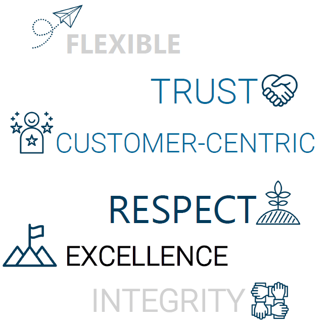 Flexible, Trust, Customer-Centric, Respect, Excellence, Integrity